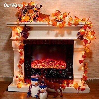 3M Thanksgiving Harvest Maple Leaves Lighted Fall Garland 30 LED String Lights