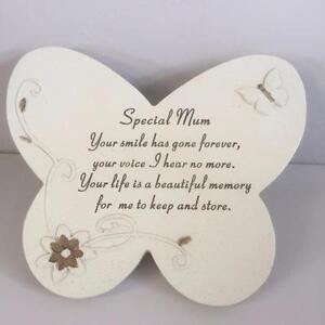 SPECIAL MUM Grave Memorial BUTTERFLY STONE Plaque Ornament Garden Home Tribute