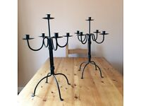 Candle Holders, wrought iron floor standing candelabra