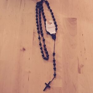 Stainless Steel Men & Women ' s 8mm Rosary Black Chain Necklace