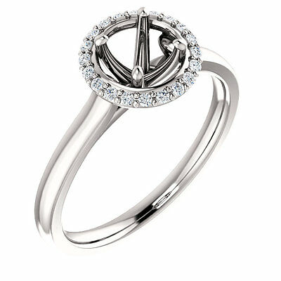 Halo Style 14k White Gold for Round Diamond Semi Mount Setting Engagement Ring
