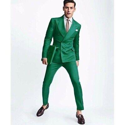 Hombre Verde Trajes de Diseño Boda Novios Informal Elegante (Abrigo+Pantalones)