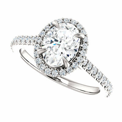 1.70 Ct Oval Brilliant Cut Diamond Halo Engagement Ring E,VS2 GIA 14K White Gold 4