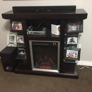 Fireplace and shelving unit