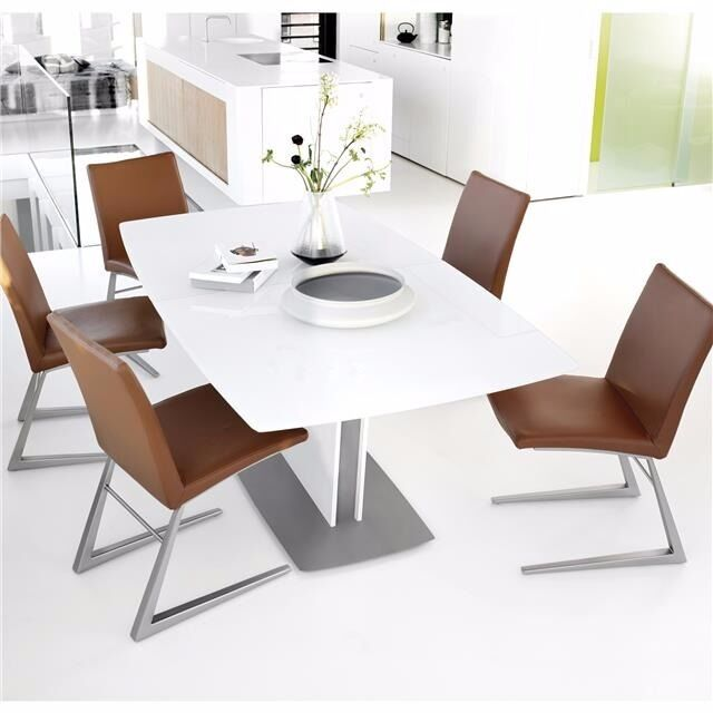 Boconcept Milano Dining Table White Gl Lacquer Grey Metal