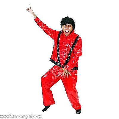 SW Mens Costume Fancy Dress MJ Michael Jackson Thriller Pop Star Red Suit & Wig - Michael Jackson Thriller Wig