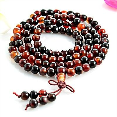 "Tibetan 108 6mm Colorful Agate Gemstone Buddhist Prayer Beads Mala Necklace -25"""