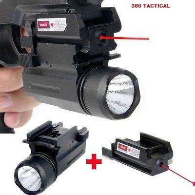 2 In 1 Tactical Pistol Red Dot Laser Sight   180 Lumen Cree Led Flashlight Combo