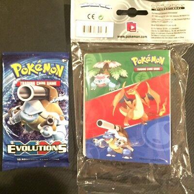 Pokemon XY Evolutions MINI Album MEGA Charizard-Pikachu 60 Card Binder + PACK  ()