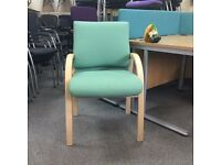 Wooden Frame Conference Chair - Green Fabric