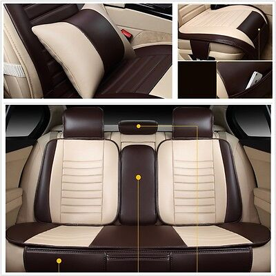 9x Universal Seat Cover with Pillow Non-Slip Backing PU leather for 5 Seats Car