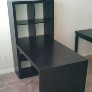 Ikea desk with shelves and a set of two drawers