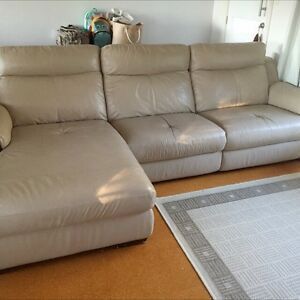 Leather Lounge Reclining 3 seater plus Chaise Waterfall Sutherland Area Preview