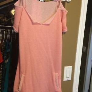 Pink Cold Shoulder Tunic Top