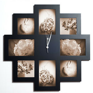 modern 8 multi aperture wooden picture photo frame wall clock ebay