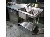 Hobart FXLS-70 Commercial Under Counter Dishwasher with Stainless Steel Sink Unit