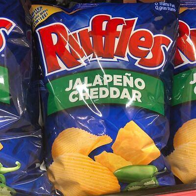 3 Bags Ruffles Jalapeno Cheddar Potato Chips Size 220g Canada -FRESH & DELICIOUS Jalapeno Cheddar Potato