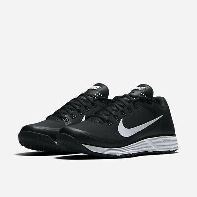 NIKE LUNAR CLIPPER TURF BASEBALL CLEATS 880262-010 MENS SIZE 9 BLACK WHITE