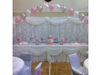 Affordable priced balloon and floral decorations chair cover and linings hire