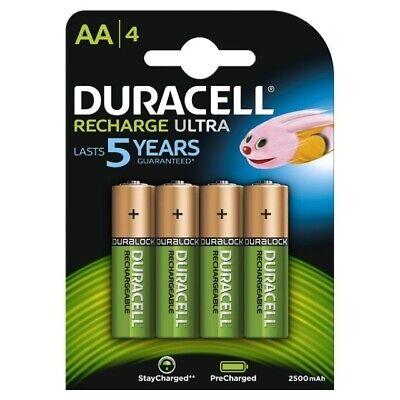 4 x Duracell Recharge Ultra Power Akkus Accus AA Mignon 2500 mAh Duralock
