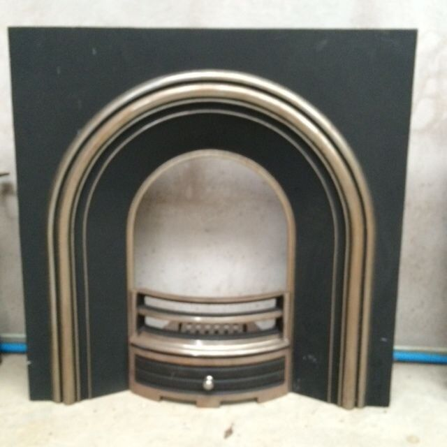 NEW* Fireplace Cast Iron Arched Insert/Back Panel, Fret/Front Bar ...