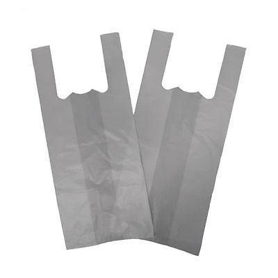 Strong White  Bottle Vest Carrier Bags Cheapest x 100