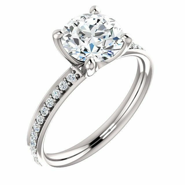 1.00 carat GIA Round Diamond I color SI2 Engagement 14K White Gold Ring
