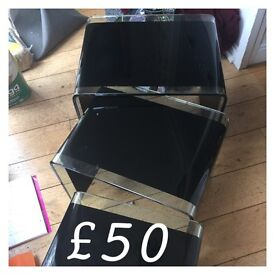 Solid heavy glass nest of tables