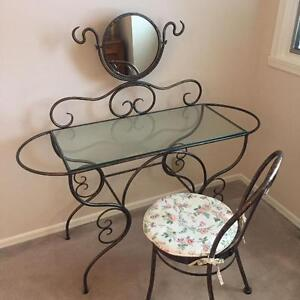 Glass Vanity Table with Mirror and Chair