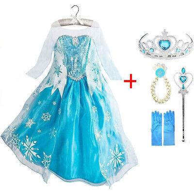 Elsa Kinder Mädchen Prinzessin Kleid Kostüm Schneewittchen Weihnachts - Schneewittchen Mädchen Kostüm