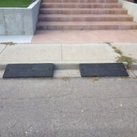 Curb ramps to make driveway