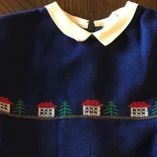 Vintage Bright Navy Blue One Piece Embroidered Top  Made in Belgium Toddler 3 T3