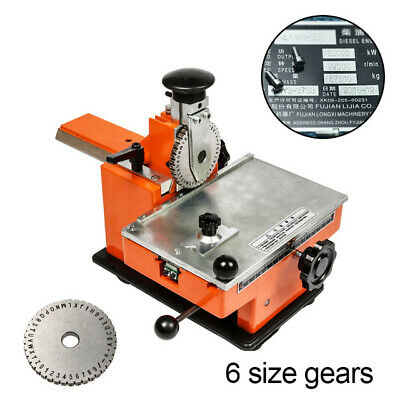 Manual Label Marking Embossing Machine Metal Plate Stamping Embosser 6 Gear