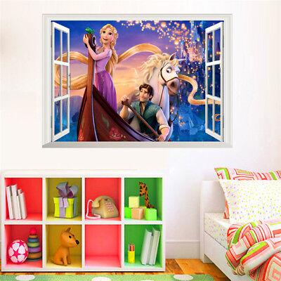 Cartoon Rapunzel Wall Stickers For Kids Rooms Girl's Room Decor 3D Window Wall (Rapunzel For Kids)