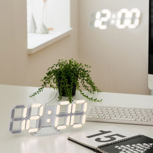 FLAITO 3D LED Multi-Functional Remote Control Digital Wall Clock FLAITO 3D LED WALL White