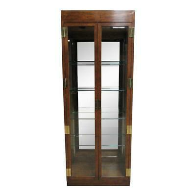(Henredon Campaign Scene One Curio Display Cabinet China Hutch A)