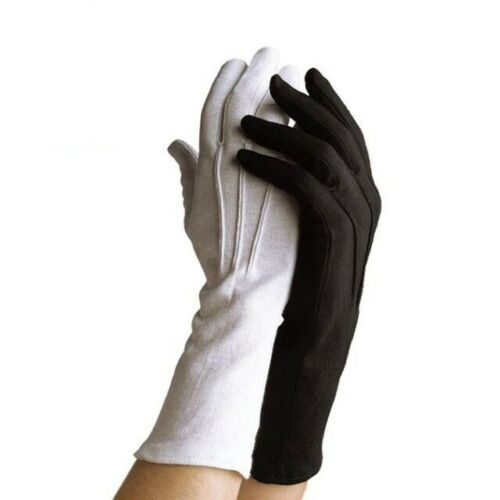 Long Wrist White Cotton Gloves - Sizes XS-XXL - Marching Band,Military,Santa