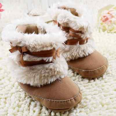 NEW Baby Girls Beige Faux Fur Boots Soft Sole Crib Shoes 0-6 6-12 12-18 (Baby Fur Boots)