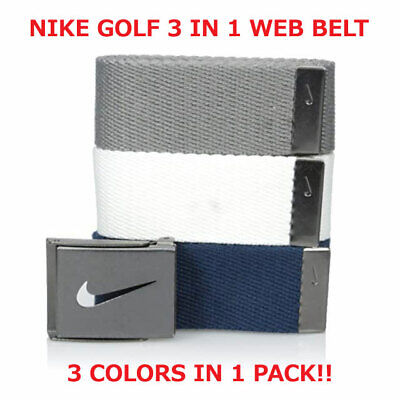 NIKE GOLF MEN'S WEB BELT 3 IN 1 PACK NAVY/GREY/WHITE  SIZE FITS UP TO 42 -