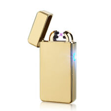 USB Electric Dual Arc Metal Flameless Torch Rechargeable Windproof Lighter HR