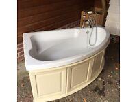Corner Bath with Heritage Mixer / Shower Taps
