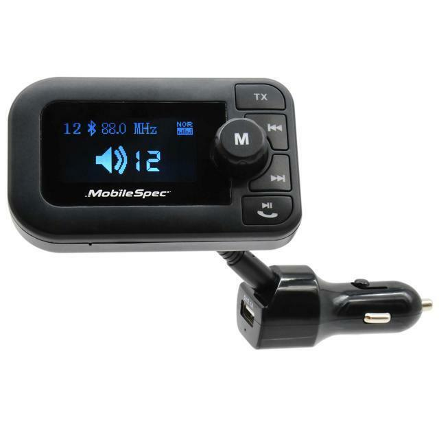 MobileSpec MBS13203 12V/DC FM Transmitter with 2.1A USB and Large Display