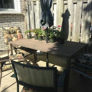 Patio Set - table, 4 chairs, umbrella,, cushions