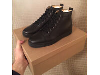 CHRISTIAN LOUBOUTIN Louis flat calf Black ( size 10 ) AUTHENTIC WITH RECEIPT )