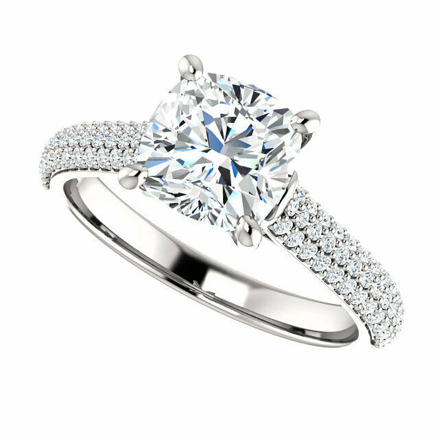 2.10Ct Cushion Cut Diamond Engagement Ring Micro Pave Solitaire G,VS2 GIA 18KWG  4