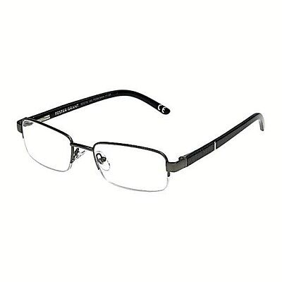 +3.25 Foster Grant Lyden Gunmetal & Black Semi Rimless Reading Glasses Spg Hngs