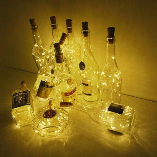 Batterie Fil de cuivre Fairy String Lights fête de mariage Bouteille Vin Cork 20 DEL 6x