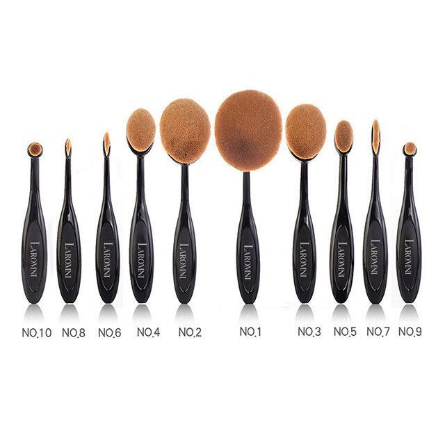 Купить Unbranded Oval Shaped Makeup Brush - 10Pcs Professional Makeup Brushes Set Oval Cream Puff Toothbrush Brush Black