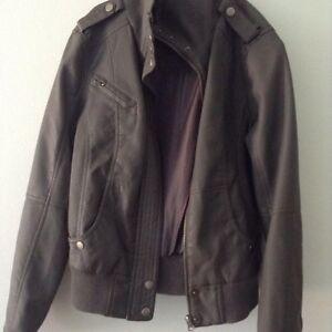 Grey Pleather/Faux Leather Jacket