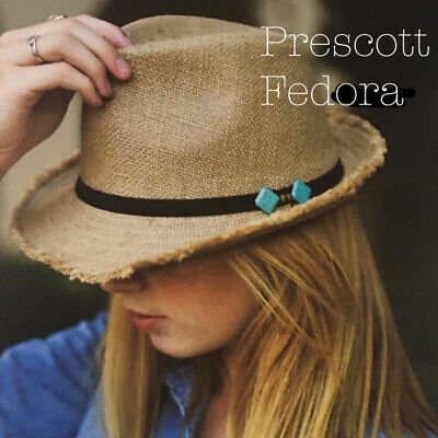 Prescott Fedora Jute Hat Trendy Fun Cute NEW - Trendy Fedora Hats